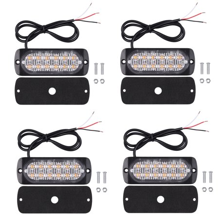 ESYNIC 12V 24V Amber Recovery Strobe 12 Cree LED Lights Orange Grill Breakdown Flashing 4pcs (Strobe Light Online)
