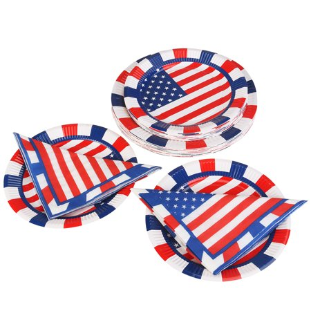 PBPBOX 4th of July Tableware Set 50pcs Napkins & 50pcs Paper Plates - Fourth Of July Plates