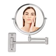Ovente Wall Mounted Vanity Makeup Mirror 7 Inch with 7X Magnification and 360 Degree Swivel Design, Double-Sided with Zero Distortion and Extendable Arm, Nickel Brushed (MNLFW70BR1X7X)