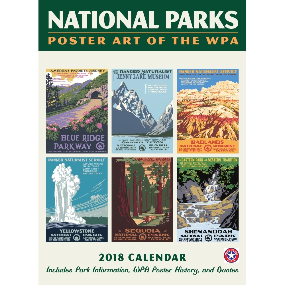 2018 National Parks WPA Poster w/Grid Wall Calendar, National Parks ...