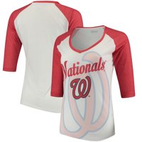 Washington Nationals Forever Collectibles Women's Watermark Baseball T-Shirt - White