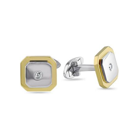 Miabella 1/10 Carat T.W. Diamond 10k 2-Tone White and Yellow Gold Octagon (10k Gold Cufflinks)