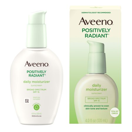 Aveeno Positively Radiant Daily Face Moisturizer SPF 15 & Soy, 4 fl. (Best Lotion To Improve Skin Elasticity)