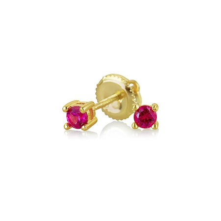 Tiny .25CT Cubic Zirconia Freshwater Pearl Solitaire Stud Earrings 14K Gold Plated Sterling Silver Screwback More