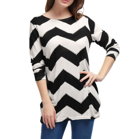 Black White Striped Shirts (Women's Knitted Tunic Long sleeves Chevron Stripe Pattern Tops Black White S (US 6) )