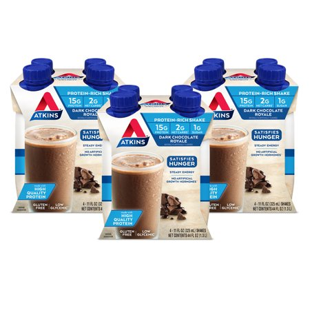 Atkins Gluten Free Protein-Rich Shake, Dark Chocolate Royale, Keto Friendly, 12 Count (Ready to Drink)