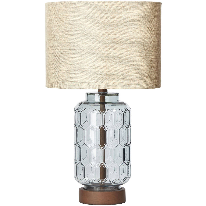 Better Homes Gardens Geo Textured Glass Table Lamp Walmart Com