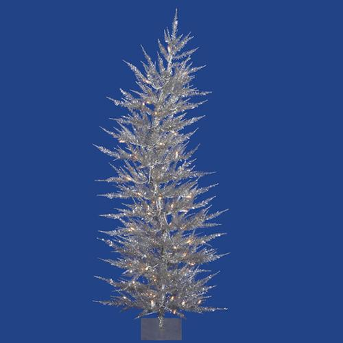 3' Pre-Lit Whimsical Silver Artificial Tinsel Christmas Tree - Clear Lights