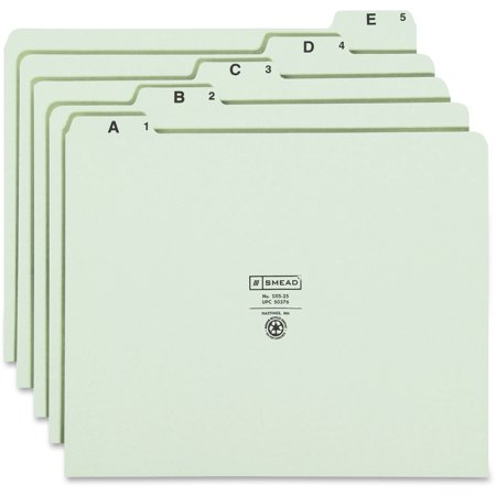 Smead, SMD50376, A-Z Green Pressboard Self Tab File Guides, 25 / Set, Green