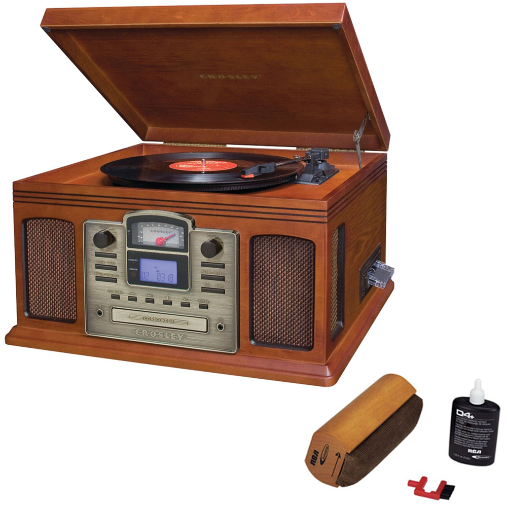 Crosley Director CD Recorder with Cassette & Record Player Paprika (CR2405C-PA) with RCA... by Crosley