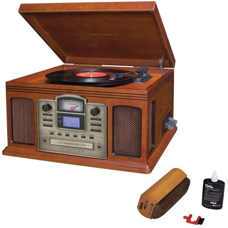 Crosley Director CD Recorder with Cassette & Record Player Paprika (CR2405C-PA) with RCA D4+ Vinyl Record Cleaning Fluid