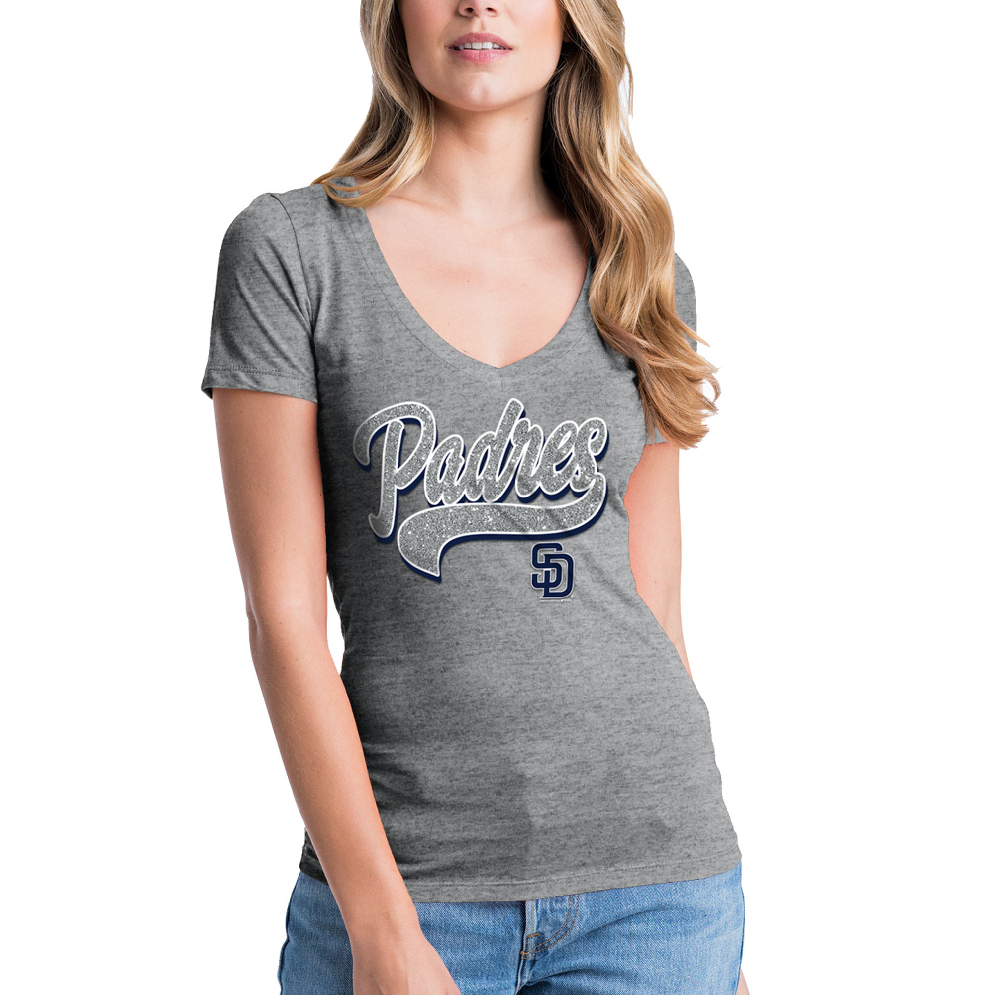 Women's New Era Heathered Gray San Diego Padres Glitter Logo V-Neck T-Shirt