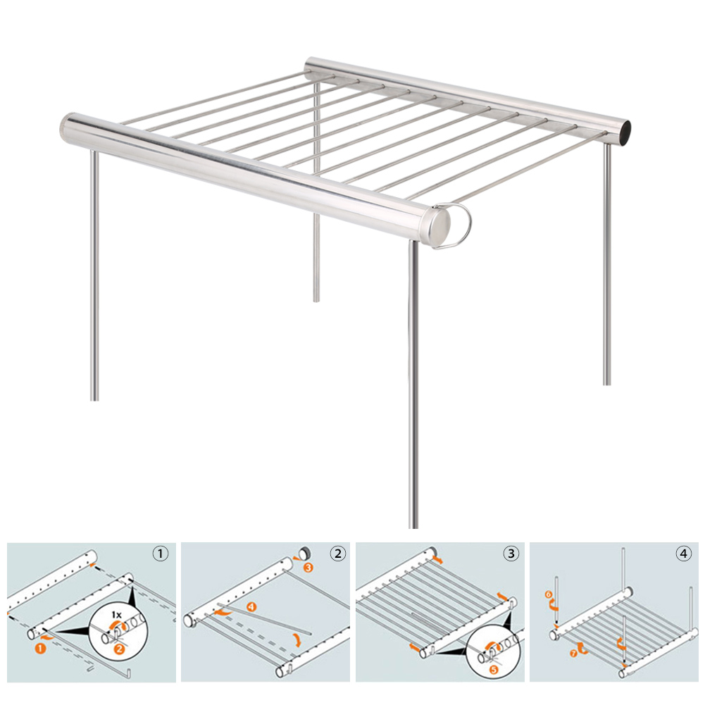 Lv. life Outdoor Foldable Portable Stainless Steel Barbecue Grill Charcoal Rack for BBQ Picnic, Picnic Grill,Barbecue Grill