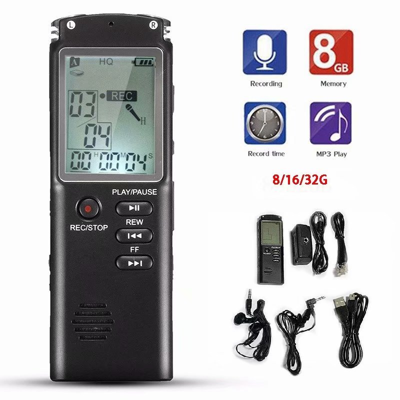 Rechargeable Digital Audio//Sound//Voice Recorder Dictaphone MP3 Player USB