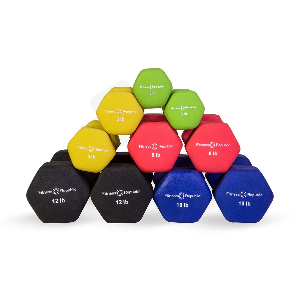 Fitness Republic Neoprene Dumbbell 5 Pairs Set (3lb,5lb,8lb,10lb & 12lb)