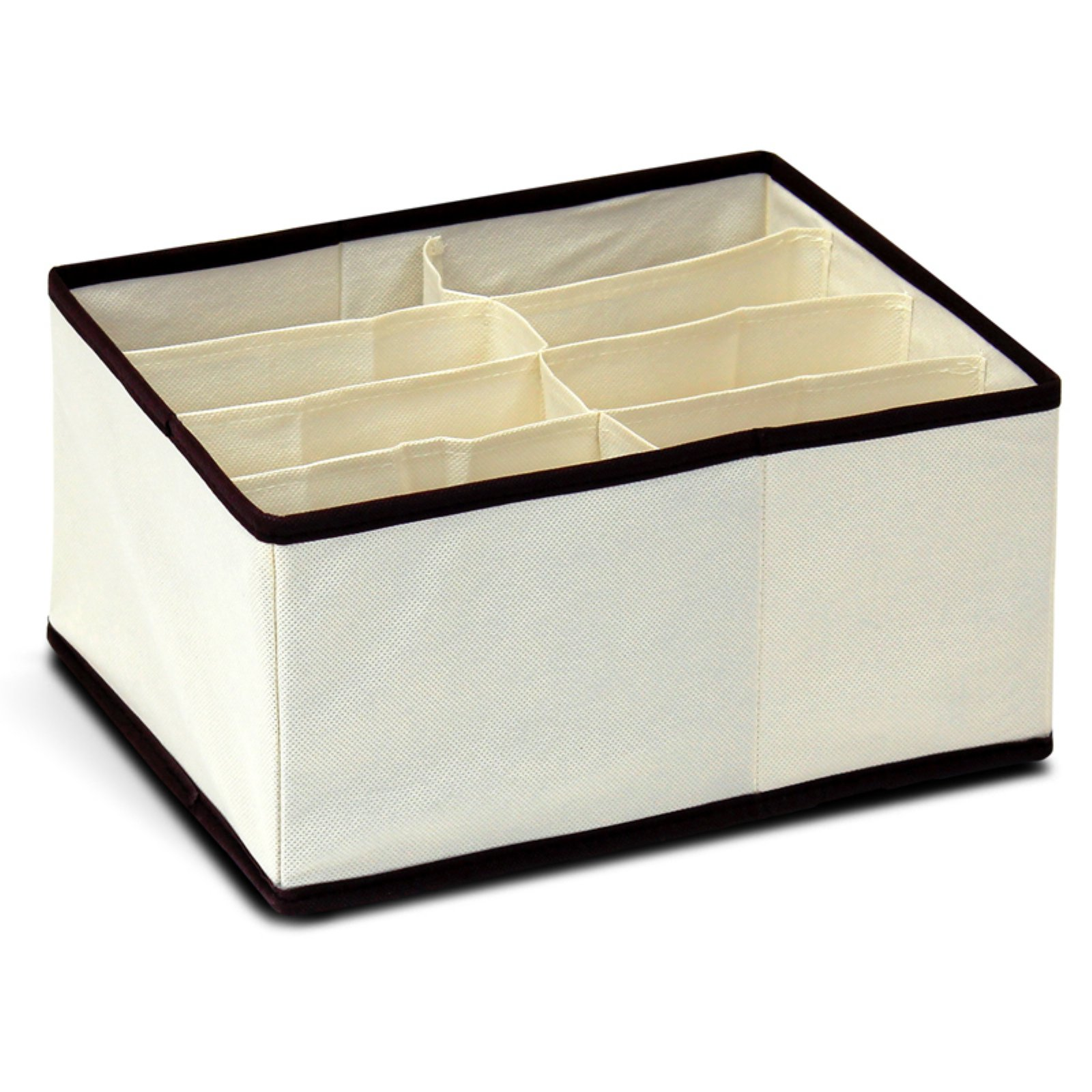 Furinno 12287IV Non-Woven Fabric 4 x 2 Deep Soft Storage Organizer, Ivory with Mid Brown Trim