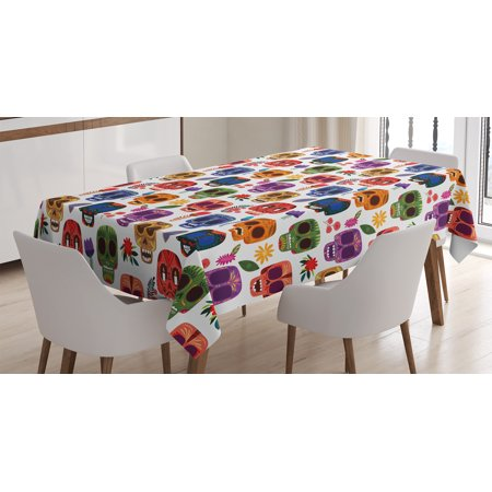 Day Of The Dead Decor Tablecloth, African Tribal Wooden Scary Mask with Cartoon Funny Details Art Print, Rectangular Table Cover for Dining Room Kitchen, 52 X 70 Inches, Multicolor, by Ambesonne (Funny Scary Masks)