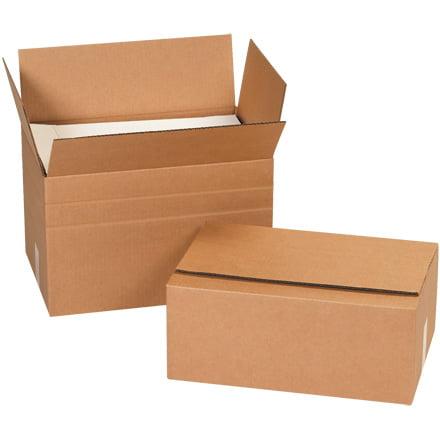 MD181412 Kraft 18 Inch x 14 Inch x 12 Inch Multi-Depth Corrugated Cardboard Shipping Box Made In USA BUNDLE OF 25