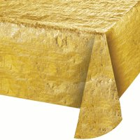"Way to Celebrate Reversible Gold 54"" x 84"" Tablecloth"