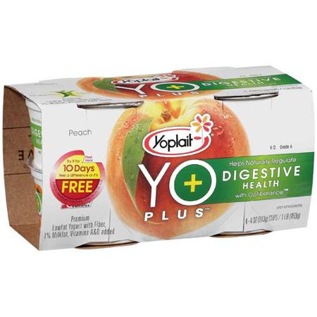 Yo Plus Cup Low Fat Peach Mp 4 Oz 4 Count Walmart Com