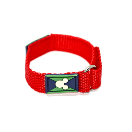 DISNEY 16MM MICKEY MOUSE HEAD RED HOOK & LOOP SLIP THRU ONE PIECE WATCH BAND