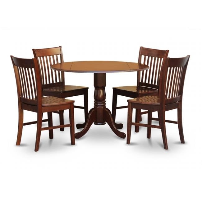 East West Furniture DLNO5-MAH-W 5PC Kitchen Round Table with 2 Drop Leaves and 4 Slatted-back Chairs with Wood Seat