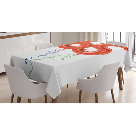 65th Birthday Decorations Tablecloth, Birthday Balloons Age Sixty Five Joyous Party Object Image, Rectangular Table Cover for Dining Room Kitchen, 60 X 84 Inches, Red Green Blue, by - 60 Birthday Decorations