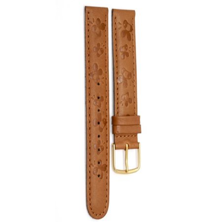 - 18mm Disney Brown Winnie The Pooh Embossed Leather Watch Band Strap