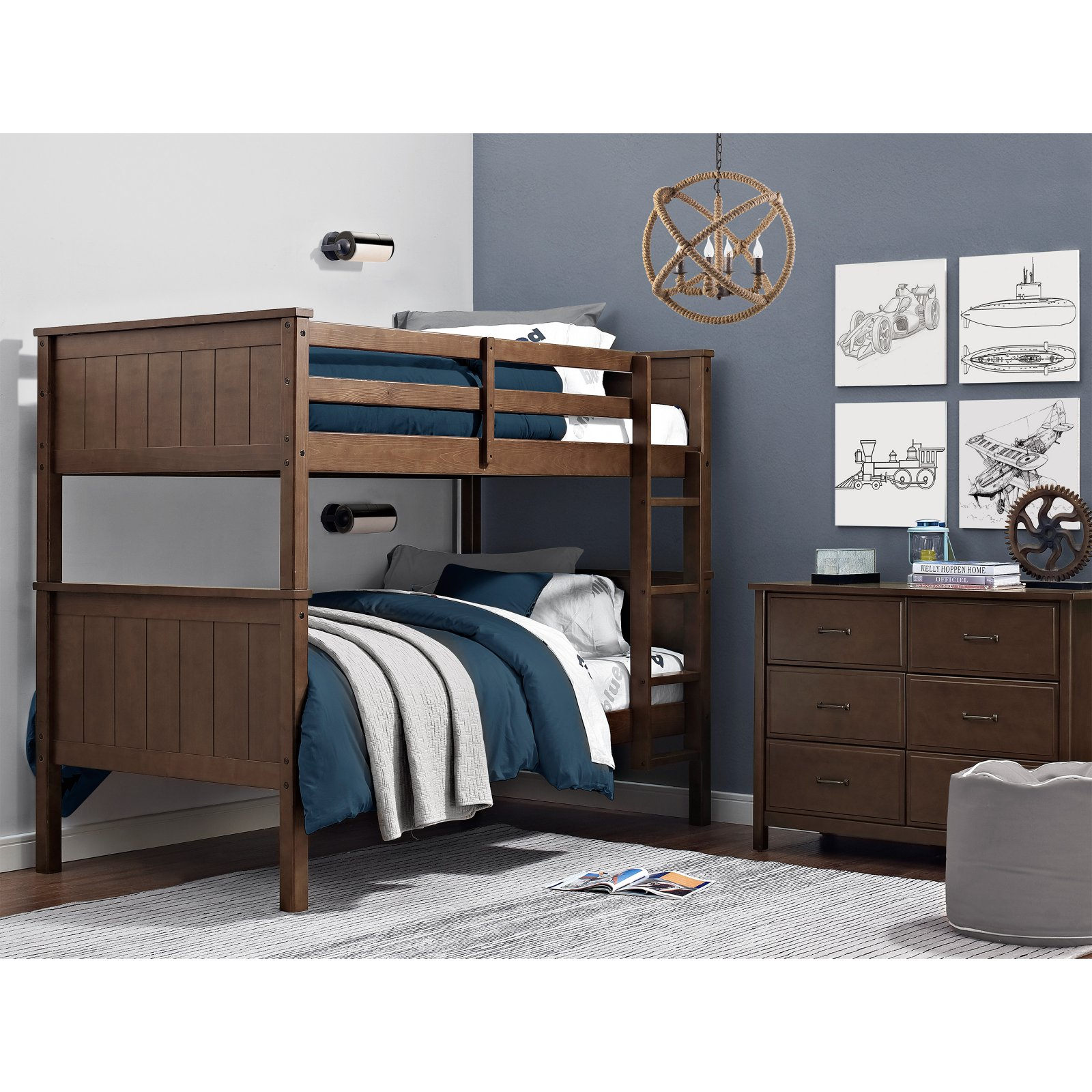Dorel Living Maxton Twin over Twin Bunk Bed - Mocha
