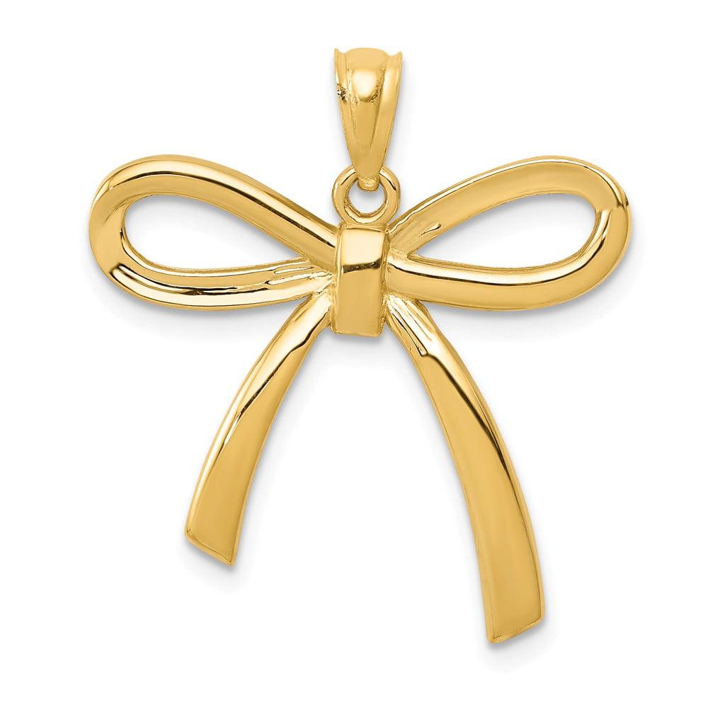 14k Yellow Gold Polished Ribbon Bow Pendant