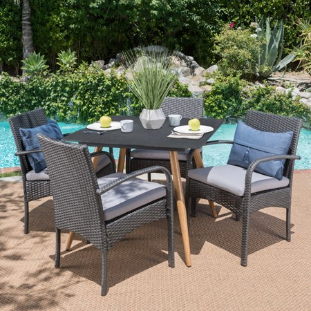 Image of Naomi Outdoor 5 Piece Wicker Dining Set with Stonelike Tempered Glass Square Table with Wood Finished Metal Legs and Cushions, Dark Grey, Grey