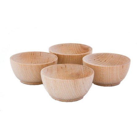 Fletchers' Mill Small Round Wooden Pinch Bowl / Condiment Cup - Set of 4