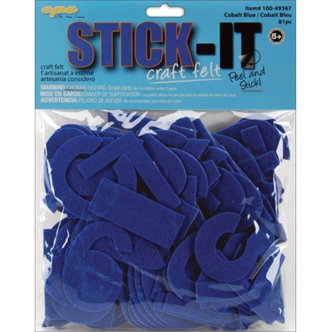 New Image Group 465811 Stick It Felt 2 inch Numbers & Letters 55-Pkg-Cobalt