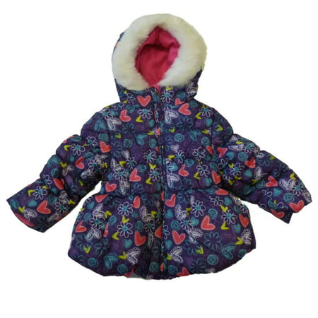 Pacific Trail Toddler Girl Purple Floral Winter Ski Jacket Fur Trim Coat