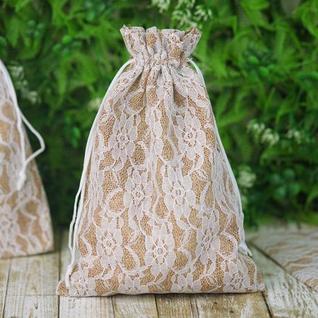 BalsaCircle 10 pcs Natural Brown Burlap Floral Lace Favor Bags with Pull String - Wedding Party Favors Jewelry Pouch Candy Gift Bags - Pull String Bags
