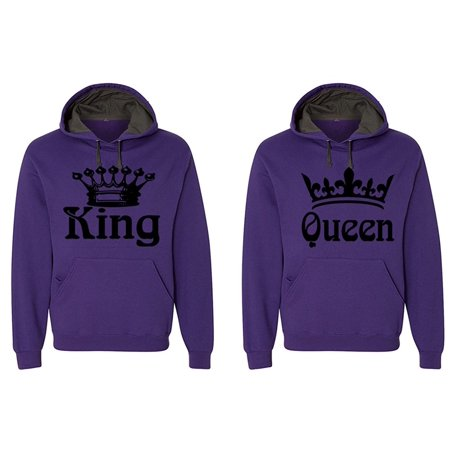 FASCIINO - Matching His & Hers Couple Hooded Sofspun Sweatshirt Contrast hood Set - King and Queen (Black Print)