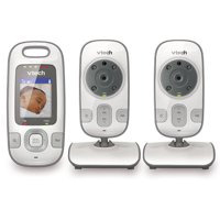 VTech VM312-2 Expandable Digital Video Baby Monitor with 2 Cameras and Automatic Night Vision, White
