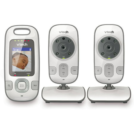 VTech VM312-2 Expandable Digital Video Baby Monitor with 2 Cameras and Automatic Night Vision, White Digital Video Baby Monitors