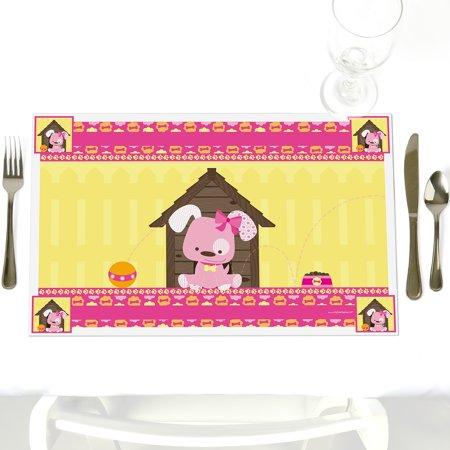 Girl Puppy Dog - Party Table Decorations - Baby Shower or Birthday Party Placemats - Set of - Puppy Dog Birthday Decorations