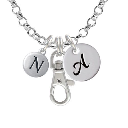 Capital Letter - N - Pebble Disc - A - Initial Badge Clip Necklace