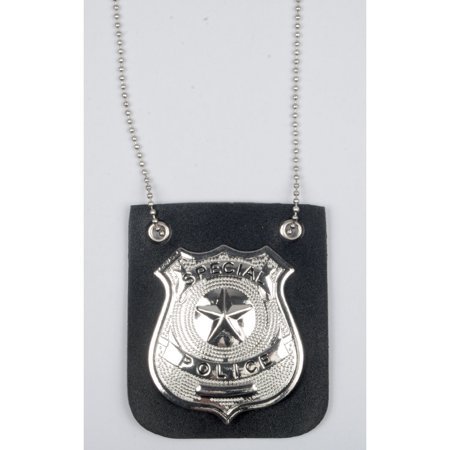 Loftus Special Police Metal Badge Necklace, SIlver Black, One-Size (Police Badge Toy)