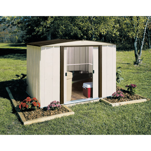 Newburgh 8 x 6 ft. Steel Storage Shed Coffee/Eggshell