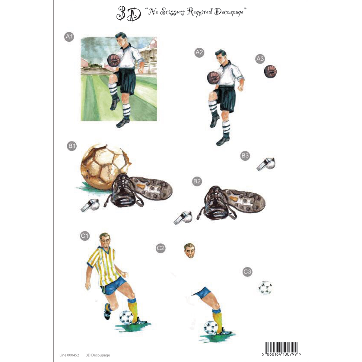 "3D Die-Cut Decoupage Sheet 8.3""X11.69""-Soccer"