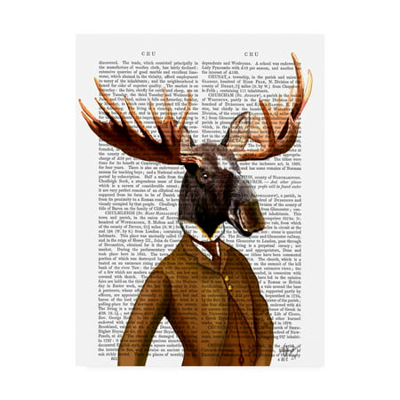 Trademark Fine Art 'Moose In Suit, Portrait Orange' Canvas Art by Fab Funky (Moose Portrait)