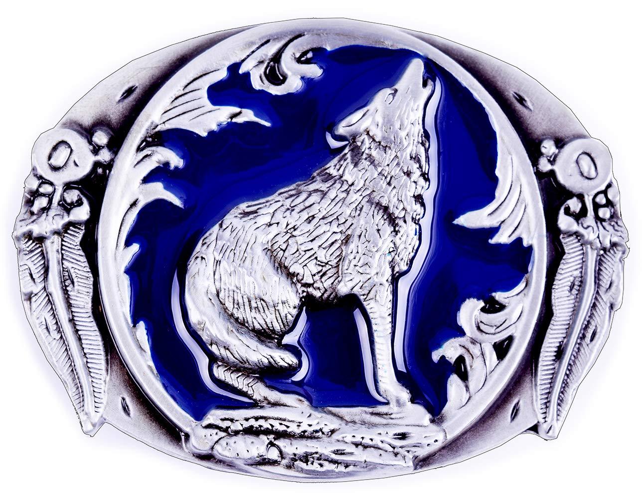 Wolf Paw Print Track Vintage Artist Signed Belt Buckle