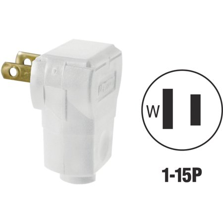Leviton  010-101AN-W White Residential Grade Straight Blade Angle Plug