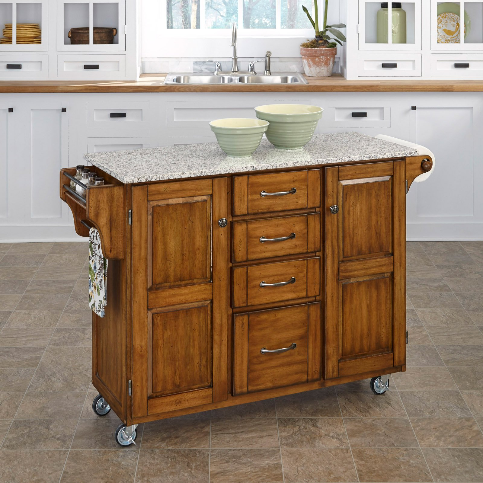 Home Styles Large Kitchen Cart, White / Black Granite Top   Walmart.com
