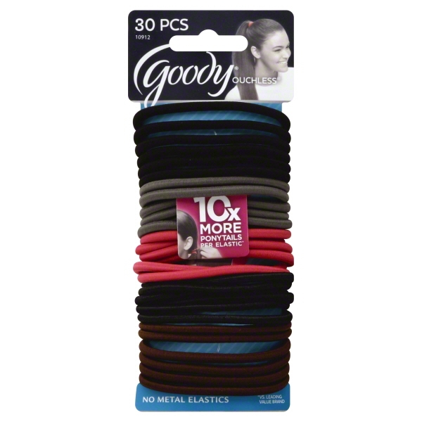 (2 Pack) Goody Ouchless No Metal Elastics, Cherry Blossom, 30 count