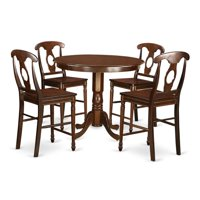 East West Furniture TRKE5-MAH-W Counter Height Dining Pub Table & 4 Kitchen Chairs, Trenton
