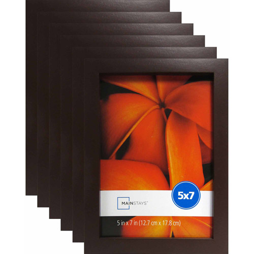 "Mainstays 5"" x 7"" Brown Linear Frame, Set of 6"